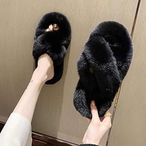 Pantuflas de Mujer, Pantuflas peludas de otoño e Invierno para Damas, Pantuflas de algodón de Suela Gruesa de Moda para Todo Juego