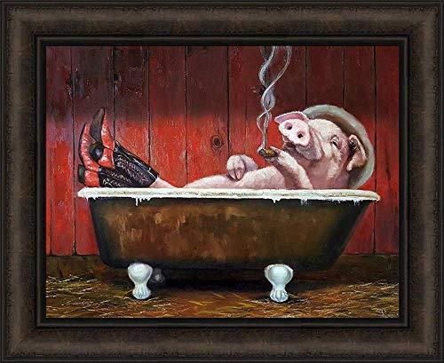 60x84cm Geen frame Varken in het bad met cowboylaarzen en hoed rokende grappige muurposter canvas artiest woonkamer decoratie woonkamer