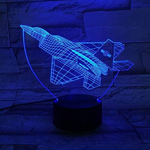 Illusion 3D LED Fighter Warplane lampe capteur tactile multi-couleur Chambre Bureau Avion Lampe de chevet décoratif Cadeaux Fête d'anniversaire d'enfants de charge USB lumière de nuit