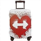 Funda de Equipaje de Viaje Icono de corazón Rojo con Manchas Salpicaduras Mancuerna Grunge Artístico Amor Valentines Maleta Protector Tamaño L