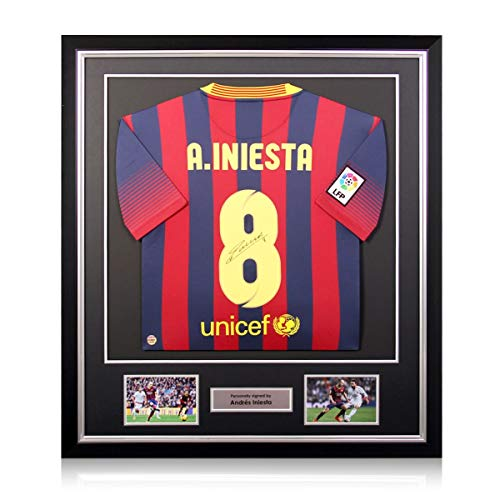 Andres Iniesta Signed Barcelona Soccer Jersey 2013-14. Deluxe Frame | Autographed Sport Memorabilia