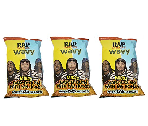 Rap Snacks Potato Chips 2.75 oz Bags (Migos Bar-B-Quin' with my Honey, 3 Pack)