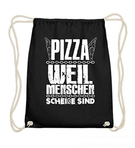 SwayShirt Hochwertige Baumwoll Gymsac - Pizza weil Menschen scheiße sind! Lustiges Gamergeschenk Serienjunkie T-shirt für Herren