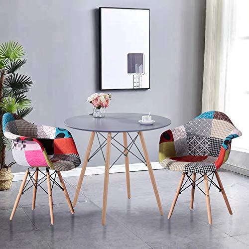 GOLDFAN Esstisch mit 2 Stühle Rund Tisch klein grau und Patchwork-Stoff Stuhl Skandinavisch für Wohnzimmer Küche usw