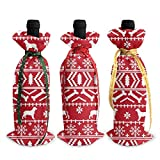 KDU Fashion Red Wine Bottle Cover,Bolso De La Botella De Vino De ESS Fair Isle, Accesorios Impresos Decorativos del Partido del Tema para La Decoración Casera,3pcs/Set