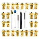 Kaimeilai 33 piezas boquillas de impresora 3D y juego de limpieza, cabezal de impresión de boquilla de latón duradero, kit de herramientas de limpieza de boquillas V5 / V6 accesorios para impresora 3D