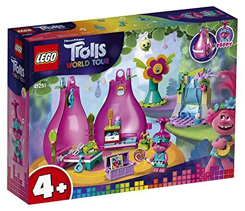 LEGO Trolls 4+ 41251 World Tour Poppys Wohnblüte, tragbares Spielset für unterwegs mit Spielhaus