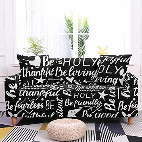 Patrón de Letras Negras Funda de sofá de 3 Plazas Funda Elástica para Sofá Poliéster Suave Sofá Funda sofá Antideslizante Protector Cubierta de Muebles Elástica