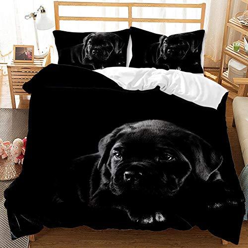 Funda de edredón de la Serie 3D Perro Animal Negro Juego de Ropa de Cama 3Piezas Funda nórdica de 140x200cm con 2 Fundas de Almohada 50x75cm,Suave Hipoalergénico fácil de cuida
