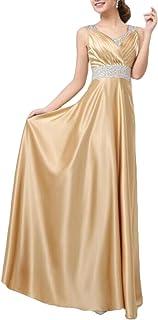 KLJR-Mujer Elegante Vestido De Noche De Lentejuelas De Cuello En V De Cintura Alta Maxi Fiesta Vestido De
