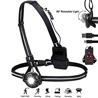 Night Running Lights, USB Rechargeable Chest Light with 90° Adjustable Beam Angle, 500 Lumens Waterproof Ultra Bright Safety Warning Lamp with Reflective Straps for Runner Jogger Camping (Black-2-US)