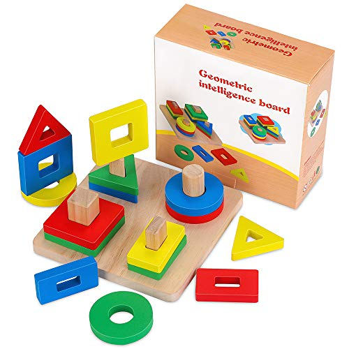New ponangaga Wooden Shape Sorter Educational Toys, Toddler Geometric Building Block Board Puzzle Co...