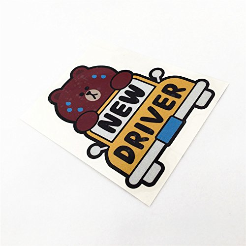 Cartoon Bear New Driver Baby in CAR Warning Motorcycle Helmet Car Window Tail Sticker Decals 13.5x11cm