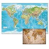GREAT ART XXL Set di Poster – Mappa del Mondo in Rilievo e Piccola Mappa del Mondo retrò – Decorazione Gall Proiezione Maps-in-Minutes™ Cartografia Geografia Terra 140 x 100 cm