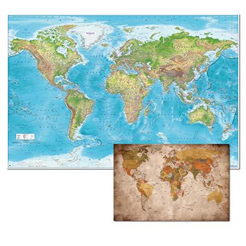 GREAT ART XXL Poster Set – Relief Weltkarte und Kleine Retro Weltkarte – Dekoration Wandbild Gall Projektion Maps-in-Minutes™ Geographie Kartographie Landkarte Erde 140 x 100 cm