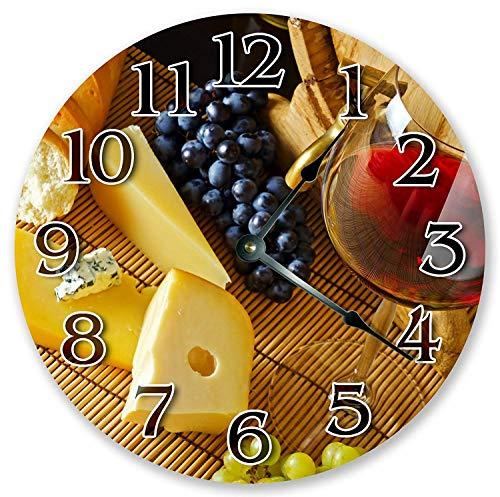prz0vprz0v Reloj clásico de madera, sin tachuelas, 12 pulgadas, mesa vintage para vino y frutas, reloj de pared de madera decorativo redondo