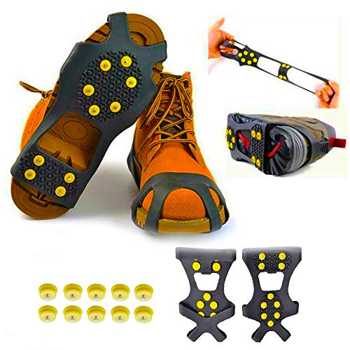 DSNGGS Anti-Skid Ice Gripper Spike(1Pair) Ice Snow Grips Over Shoe/Boot Traction Cleat Spikes Anti Slip Footwear (M Men:5-8/ Women:7-10)