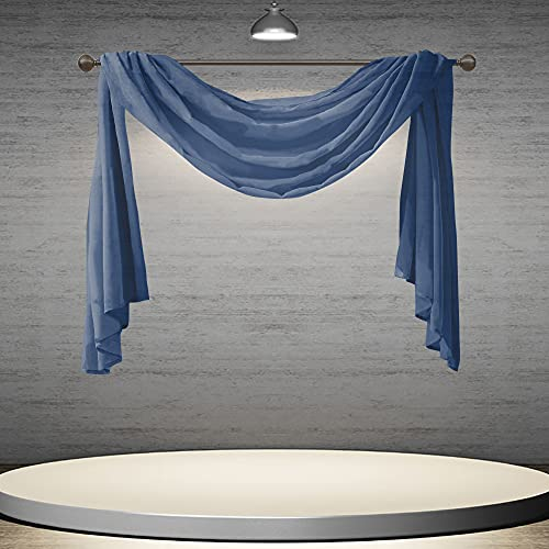 DONREN Dark Blue Window Scarf for Home Decor -Luxury Look Sheer Scarf 52 inches Wide by 144 inches Long,Navy Blue