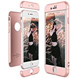 CE-Link Funda para Apple iPhone 7 Rigida 360 Grados Integral, Carcasa iPhone 7 Silicona Snap On Diseño Antigolpes Choque Absorción, iPhone 7 Case Bumper 3 en 1 Estructura - Oro Rosa