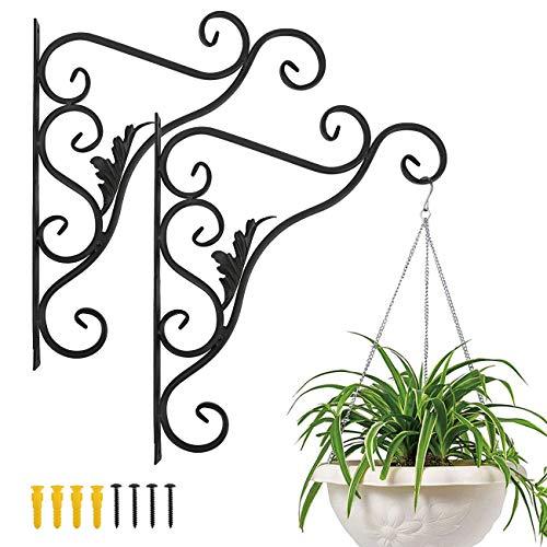 LewondrEstante de Suspensión de Planta en Jardín al Aire Libre, Soportes de Pared de Metal de Flores Flotantes, Arte de Hierro Montado en la Pared Tripod con Clavos Incluidos - Hoja