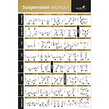 Laminated Suspension Exercise Poster - Strength Training Chart - Build Muscle, Tone & Tighten - Home Gym Resistance Workout Routine - Fitness Guide - Bodyweight Resistance -20 x30