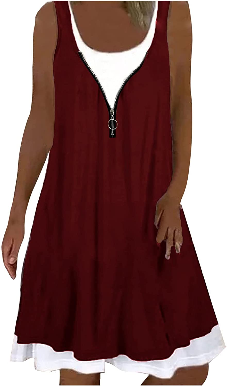 V-Neck Large Zipper Decoration A-Line Dress Women 2021 Summer Casual Sleeveless Mini Dress Ladies Fashion Loose