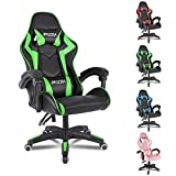 Gaming Chair Office Chair Desk Chair Swivel Heavy Duty Chair Ergonomic Design with Cushion and Reclining Back Support (Green and Black)