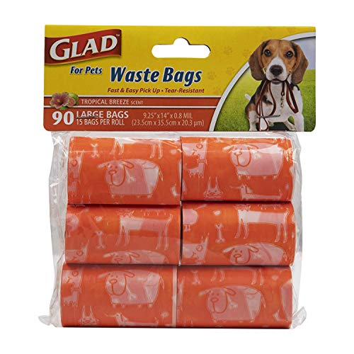 Glad for Pets Extra Large Tropical Breeze Scented Dog Waste Bags Refill Rolls  Poop Bags for Dogs, 90 Count - Dog Poop Bag Refills, 15 Dog Waste Bags Per Roll