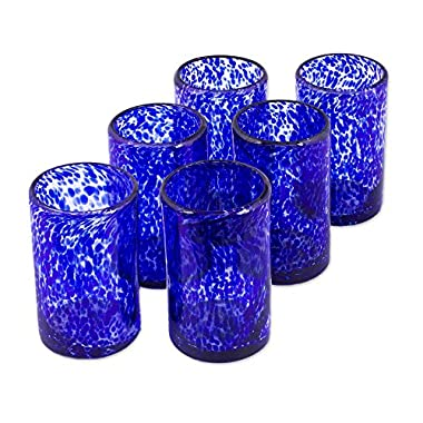 NOVICA Artisan Crafted Clear Blue Hand Blown Recycled Glass Tumbler Glasses, 14 0z. 'Marine' (set of 6, Pitcher not included)
