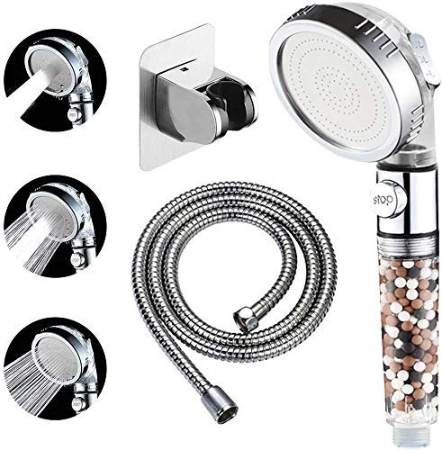 KAIYING Filtered Ionic Shower Head with On Off Switch, High Pressure Hand Held Detachable and Removable Filter Showerhead with 5Ft Hose, Self Adhesive Bracket
