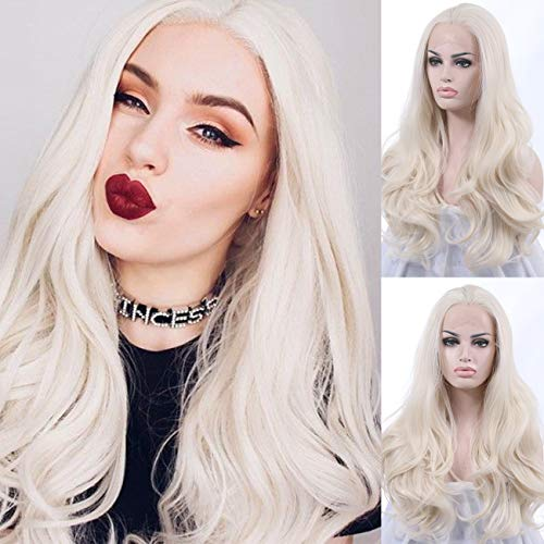 K'ryssma Platinum Blonde Glueless Synthetic Hair Lace Front Wigs Long Natural Straight Half Hand Tied Replacement Full Wig For Women Heat Friendly 20inch