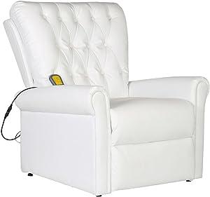 XINGLIEU–Silla de Masaje eléctrica (Piel Artificial Ajustable 78x 94x 91cm (L) X L X H) Color Blanco Silla de casa
