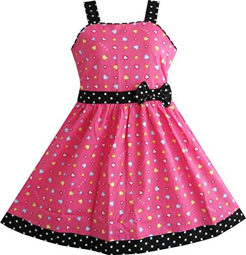 Sunny Fashion Vestido para niña corazón impresión Rosado Niños Ropa Navidad Regalo 11-12 años