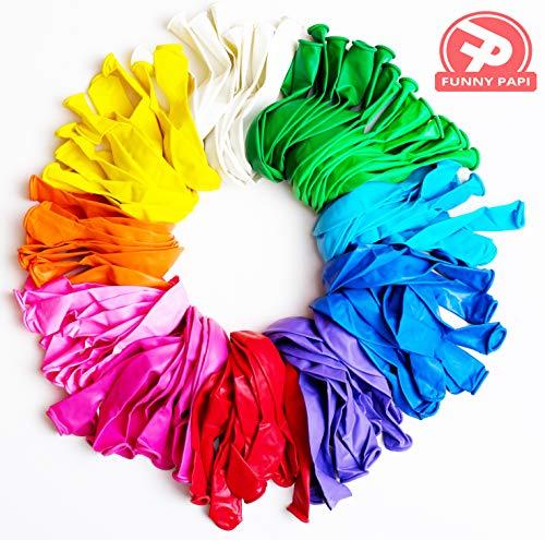 Funny Papi Luftballons Hochzeit Bunt, für Luft & Helium - 110 Ballons Latex in 11 Party Farben, Luftballon für Geburtstag & Kindergeburtstag - groß - 30 cm