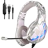 Headphones/TYUOBOX Camo Gaming Headset for PS4, Xbox One, PC, Headphones with Mic,Noise Cancelling Microphone,LED Light, Bass Surround