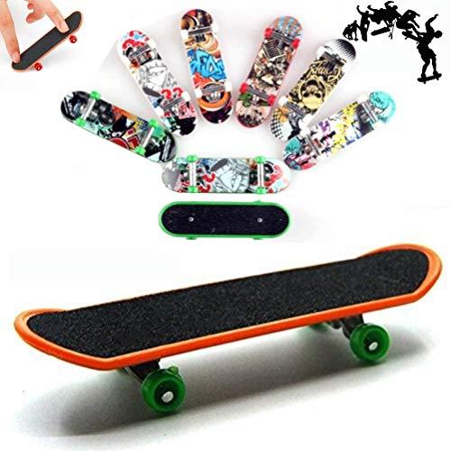 AumoToo Planche à roulettes de Doigt, Lot DE 5 Mini-Jouets à Doigt Deck Truck Finger Board Skate Park Boy Enfants Enfants Cadeau (Motif Aléatoire)