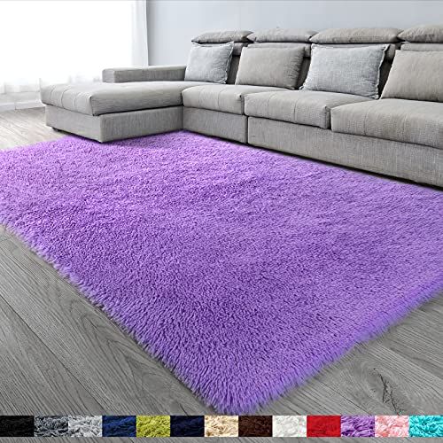 Purple Soft Area Rug for Bedroom,5x7,Fluffy Rugs,Lavender Rug for Girls Room,Furry Rugs for Nursery Room,Shaggy Rug for Kids Baby Room,Dorm,Big Rug,Shag Rugs,Non-Slip Rug,Purple Carpet