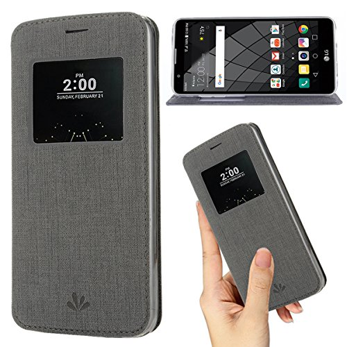 LG G6 case,Premium Flip Leather Case View Window Sleep Wake Up Smart Cover Stand Kickstand Full Body Protective Magnetic Closure TPU Bumper Case for LG G6(Gray)