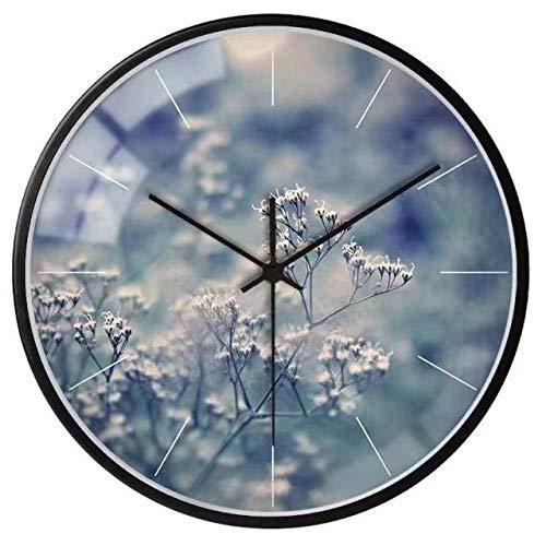 DFGSAA Reloj de Pared Creativo Fotos de Plantas nórdicas Paisaje Sala de Estar Dormitorio atmósfera silenciosa decoración Simple Reloj de Pared Adornos Decorativos de Metal Redondo 12 Pulgadas