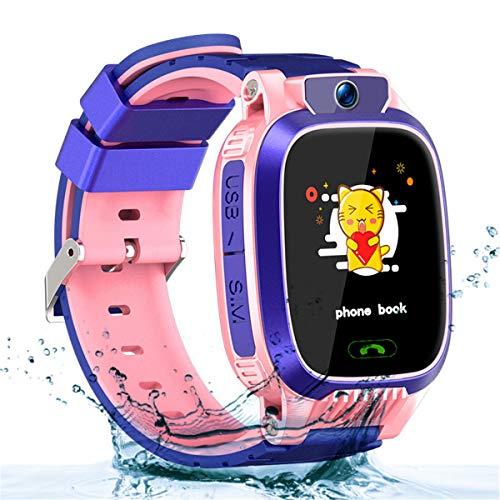 Smartwatch Niños, Reloj Inteligente Niña IP67, LBS, Hacer Llamada, Chat de Voz, SOS, Modo de Clase, Cmara, Juegos, Regalo para Niños de 3-12 años, soporta 2G tarjetáas Micro SIM (Rosa Claro)