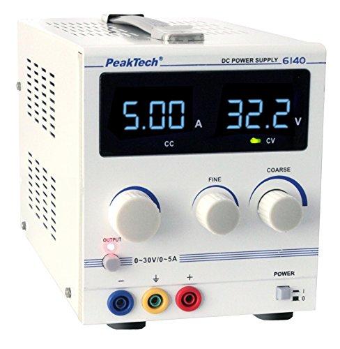 Preisvergleich Produktbild PeakTech Digtial Labornetzteil - Labornetzgerät 0-30V / 0-5A DC,  stabilisiert,  linear regelbar,  1 Stück,  P 6140
