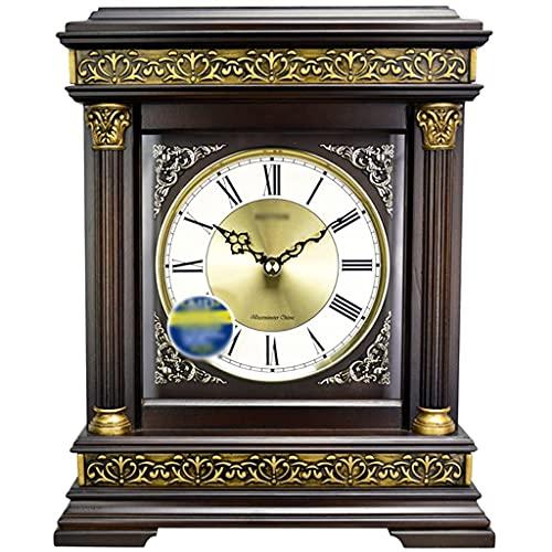 LITINGT Relojes de sobremesa Silencioso Retro Decoración de Sala de Estar Reloj de Escritorio Antiguo, silencioso, Adecuado para repisa, Oficina, Escritorio, estantería y hogar