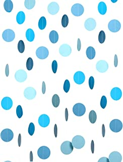 Sky Blue Paper Garland Circle Dots Hanging Happy Birthday Baby Boy Shower Wedding Party Decoration, 2 inch, 26 feet in Total