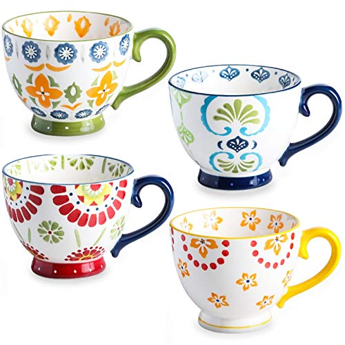 Set of 4 Coffee Mug Sets, DeeCoo 15 Ounce Large Ceramic Coffee Mugs Restaurant Coffee Mug,...
