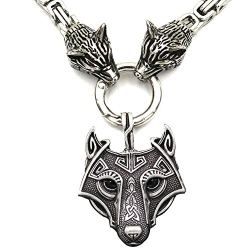 Massive Wolf Head Pendant Necklace, Mens Stainless Steel Fenrir Wolf Head King Chain Authentic Viking Amulet Jewelry,Square Chain,50cm