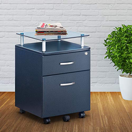 Techni Mobili Rolling File Cabinet with Glass Top, Graphite