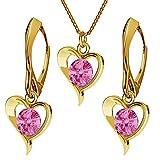 Juego de joyas de plata de ley 925 chapada en oro de 24 quilates con cristales de Swarovski – Corazón – Rosa – Pendientes para mujer – Collar con colgante