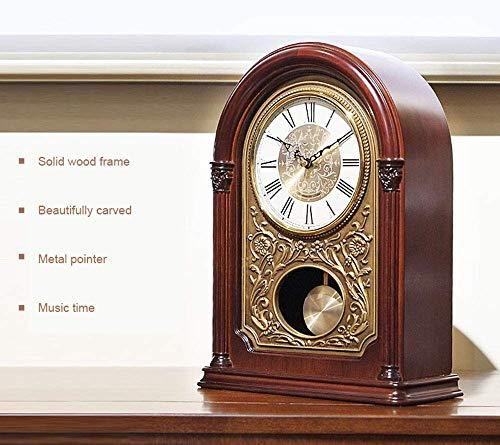 MingXinJia Relojes de Cabecera para el Hogar Reloj de Repisa de Péndulo, Reloj de Mesa de Escritorio Adorno Antiguo Relojes de Alarma Mecánicos Silenciosos Relojes de Escritorio de Pie de Madera Relo
