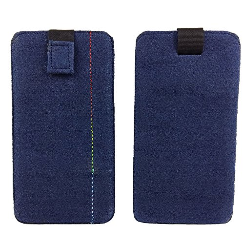 handy-point 5,0'' Filztasche Tasche Hülle aus Filz für Samsung, iPhone, Sony, Lenovo Moto, Huawei, Alcatel, Gigaset, Medion, Neffos, Geräte mit Max.14,2x7,3xx1cm (Blau dunkel)