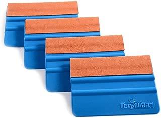 TECKWRAP Durable Felt Edge Squeegee 4 Inch for Car Squeegee Vinyl Decals Blue 4 pcs (with Orange Felt Edge)